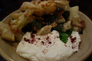 Cauliflower stems with sumac labneh